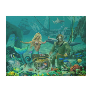 Mermaid's Coral Reef Treasure Wood Prints