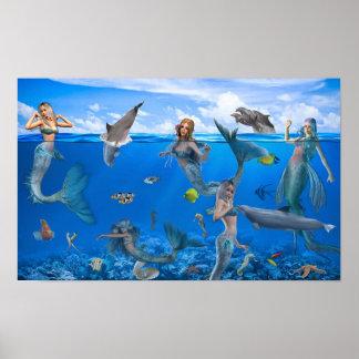 Mermaids & Dolphins Fantasy Art Poster