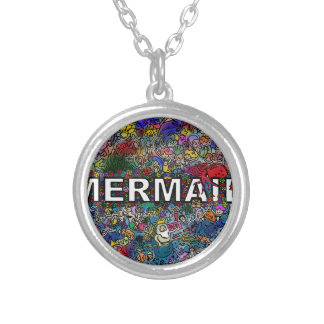 Mermaids Doodle Silver Plated Necklace