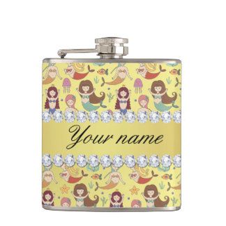 Mermaids Faux Gold Foil Bling Diamonds Hip Flask