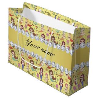 Mermaids Faux Gold Foil Bling Diamonds Large Gift Bag
