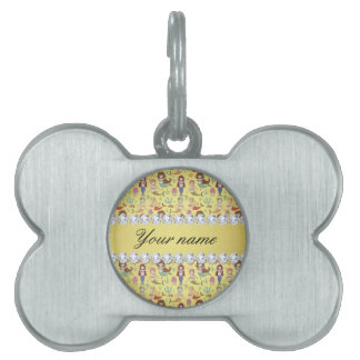 Mermaids Faux Gold Foil Bling Diamonds Pet Tag