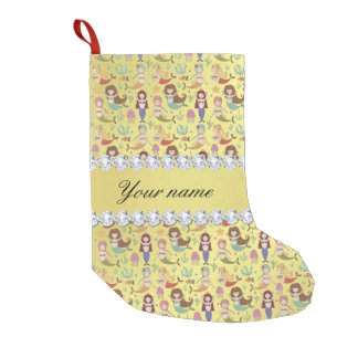 Mermaids Faux Gold Foil Bling Diamonds Small Christmas Stocking