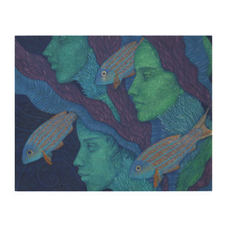 Mermaids & Fish, surreal fantasy art, underwater Wood Print