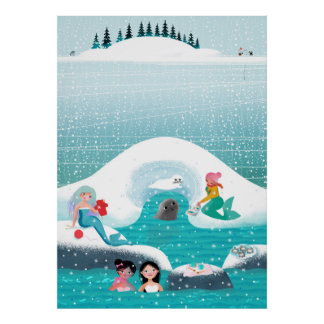 Mermaids having a picnic with a seal and baby poster