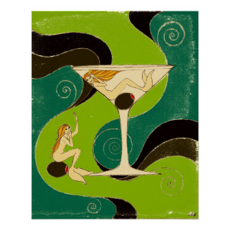 Mermaids in a Martini Poster