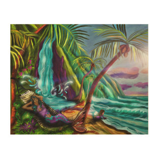 Mermaids In Paradise Wood Canvas