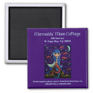 Mermaid's Moon Cottage Business Card Square Magnet