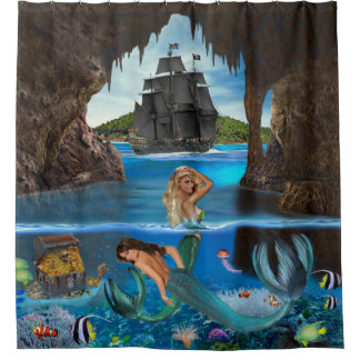 MERMAIDS OF THE PIRATE CAVE SHOWER CURTAIN