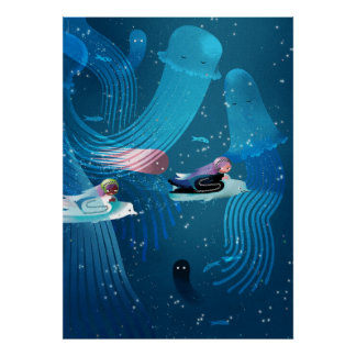 Mermaids racing in ocean kids' illustration poster