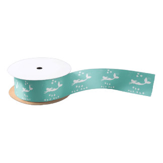 Mermaids Teal Mint and White Satin Ribbon
