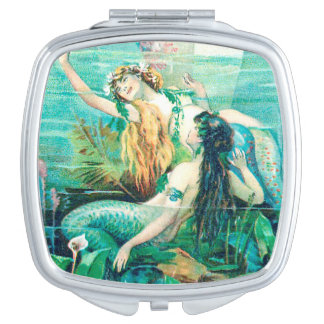 Mermaids Underwater on Mirrored Compact Mirrors For Makeup