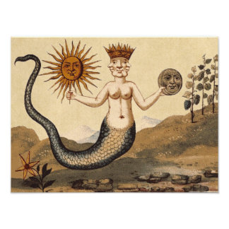 Merman with Three Faces Sepia Photo Print