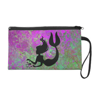 Mermazing Purple Green Mermaid Silhouette Wristlet