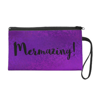 Mermazing  Purple Textured Mermaid Silhouette Wristlet