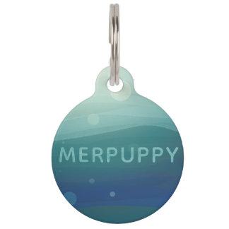 Merpuppy Aqua Watercolor Large Dog Tag