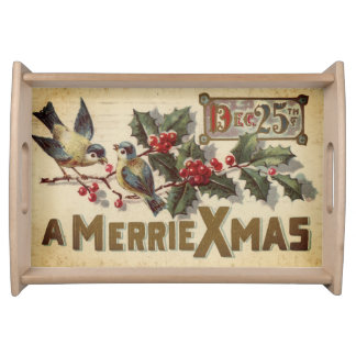 Merrie Xmas Vintage Dec 25th Birds and Holly Berry Serving Tray