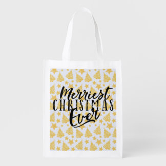 Merriest Christmas Ever Holiday Design Reusable Grocery Bag