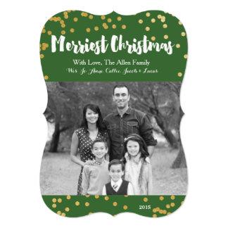 Merriest Christmas - Green Gold Photo Card 13 Cm X 18 Cm Invitation Card