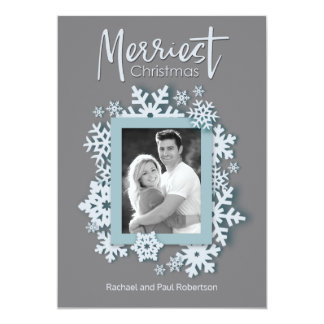 Merriest Christmas Modern Holiday Style Photo Card