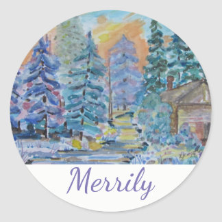 Merrily - Cabin in the Woods Scene (20) Classic Round Sticker