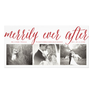 Merrily Ever After Couple 1st Christmas Photo Card