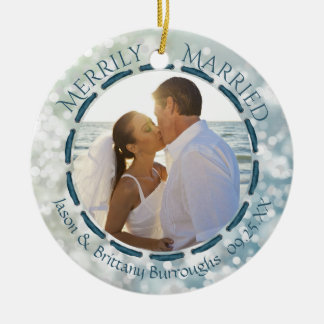 Merrily Married, 2-Sided Two Photo Teal/Blue/White Ceramic Ornament
