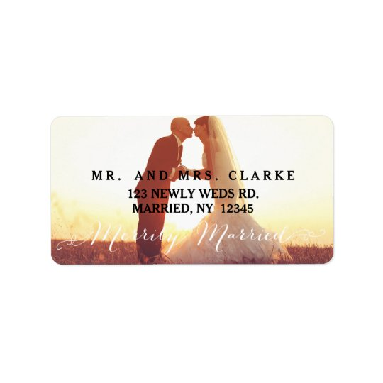 Merrily Married Christmas Photo Holiday Label