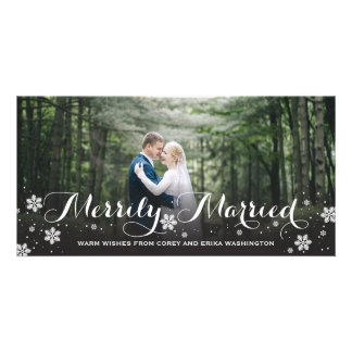 Merrily Married Snowflake Holiday Card