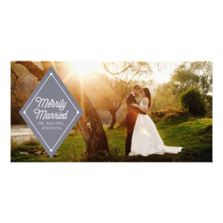 Merrily Married Wedding Announcement Holiday Photo Customised Photo Card