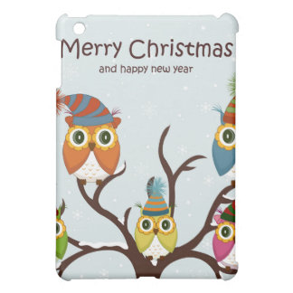 Merrry Christmas Owls in the Tree iPad Mini Cover
