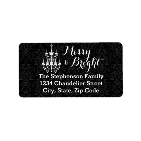 Merry and Bright Black Chandelier Holiday Address Label