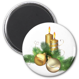 Merry and Bright Candles 6 Cm Round Magnet