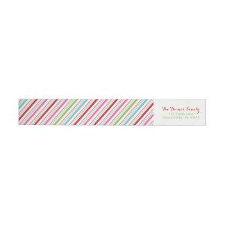 Merry and Bright Candy Stripe Return Address Wrap Around Label