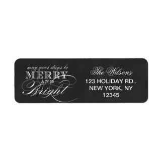 MERRY AND BRIGHT | CHALKBOARD HOLIDAY RETURN ADDRESS LABEL