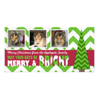 Merry and Bright Chevron Christmas Photo Card