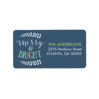 Merry and Bright Christmas Address Labels