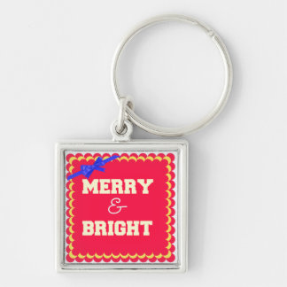 Merry and Bright Christmas Holiday Custom Keychain