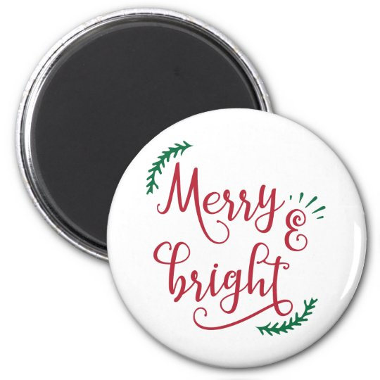merry and bright Christmas Holiday Magnet