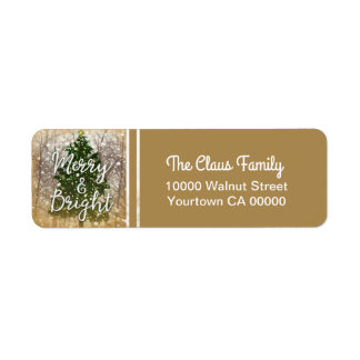 Merry and Bright Christmas Holiday Return Address Label
