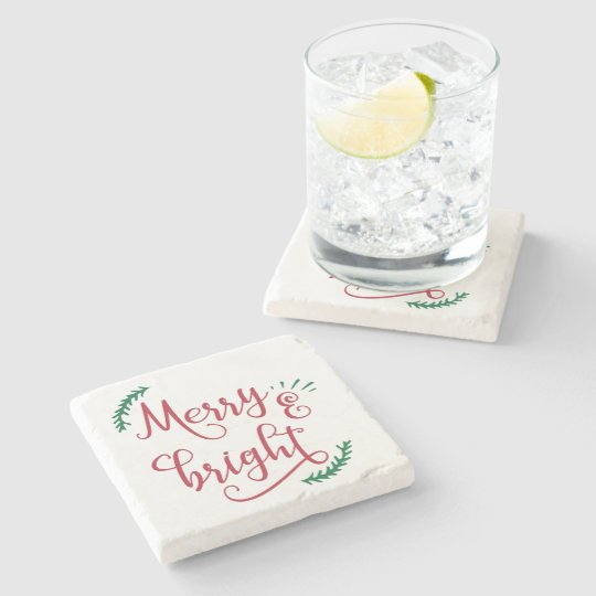 merry and bright Christmas Holiday Stone Coaster