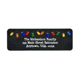 Merry and Bright Christmas Lights Chalkboard Return Address Label