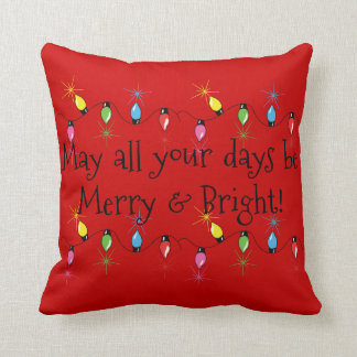 Merry and Bright Christmas Lights Cushion