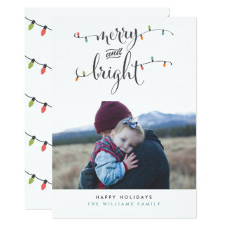 Merry and Bright Christmas Lights Photo Cards