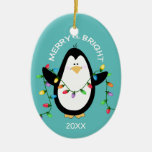 Merry and Bright Christmas Penguin Fun Blue Oval Ceramic Oval Decoration
