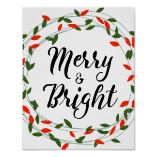 Merry and Bright - Christmas - Poster