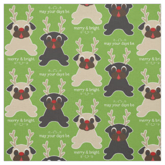 Merry and Bright Christmas Pug Reindeers Fabric