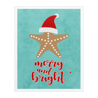 Merry and Bright | Christmas Santa Starfish Acrylic Print
