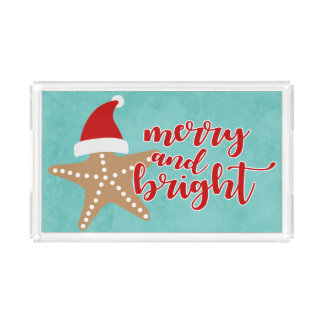 Merry and Bright | Christmas Santa Starfish Acrylic Tray