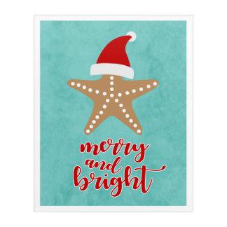 Merry and Bright | Christmas Santa Starfish Acrylic Wall Art